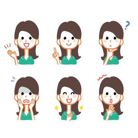 Female facial expression illustration variation