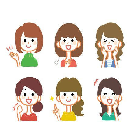 Variations of multiple female facial expressions illustration