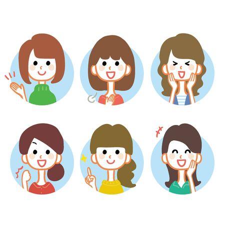 Variations de plusieurs expressions faciales féminines illustration