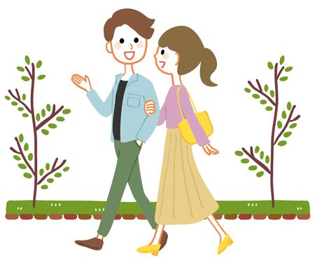 Young couple strolling in the park
