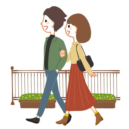Young couple walking on the promenade