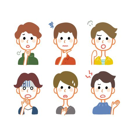 Variations of facial expressions of multiple men Ilustracja