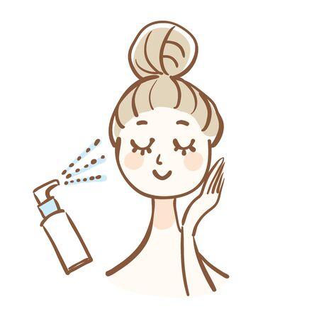 Une femme qui fait des soins de la peau. Elle utilise une brume hydratante.