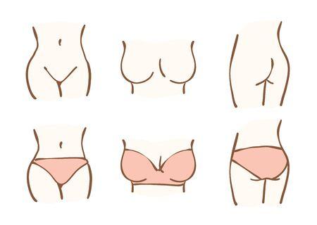 Een deel van het lichaam van een vrouw. Dit is een handgetekende illustratie