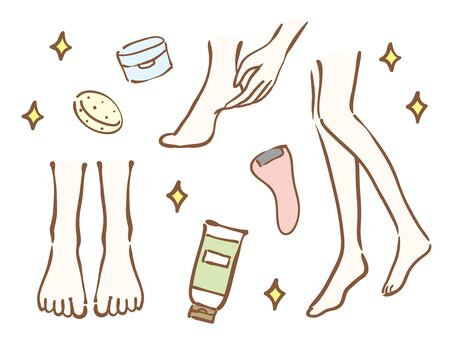 Foot and foot care product illustration set