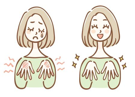 Women who hand care before and after