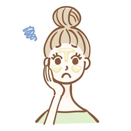 Illustration of a woman with oily skin
