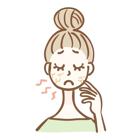 Illustration of a woman with dry skin Çizim