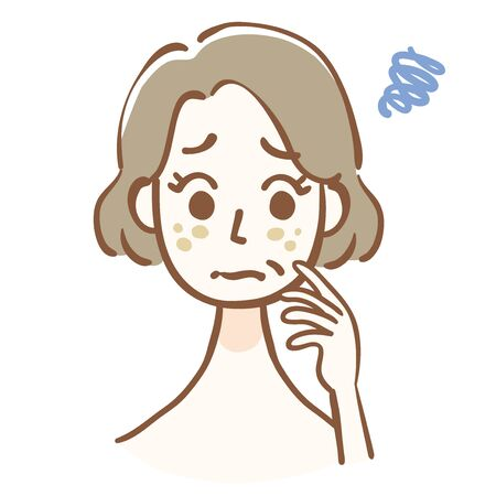 Middle aged woman suffering from skin problems  イラスト・ベクター素材