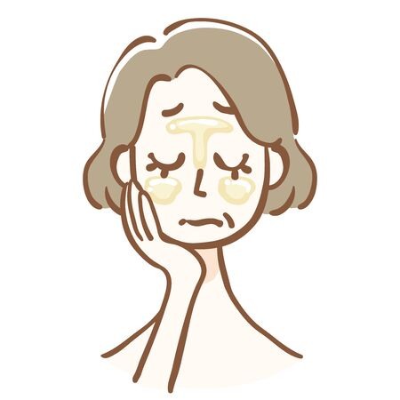Middle aged woman with oily skin Vectores