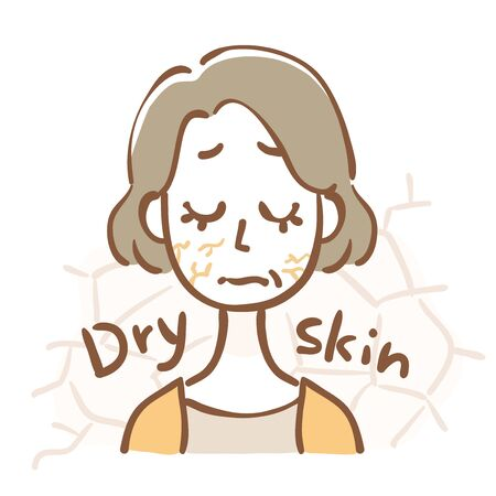 Middle aged woman with dry skin Иллюстрация