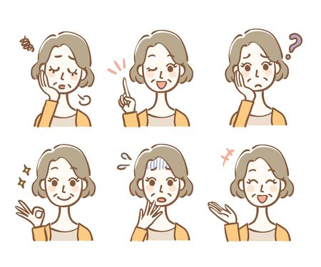 Middle-aged woman facial expression illustration variation  イラスト・ベクター素材