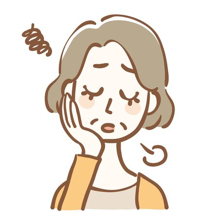 Illustration of middle-aged woman sighing tired
