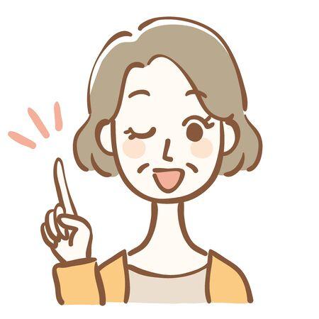 Illustration einer Frau mittleren Alters, die Ratschläge gibt