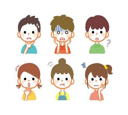 Illustration of a worried or angry kid