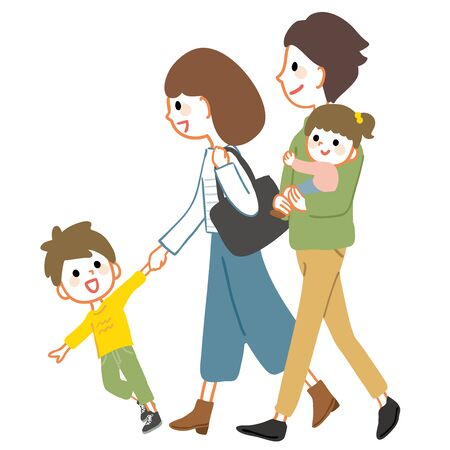 Illustration of a family walking. It can be used in scenes such as walks and trips.