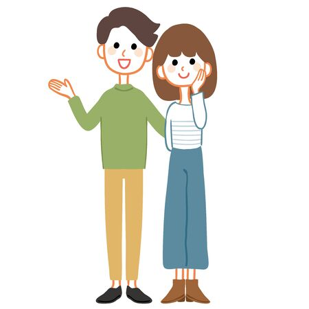 Full body illustration of a young couple.  イラスト・ベクター素材