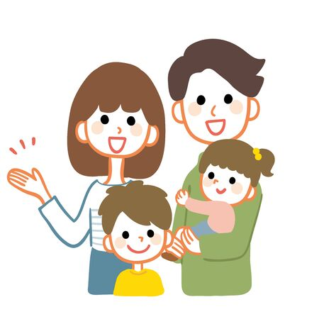 Happy family illustration. The mother is explaining.