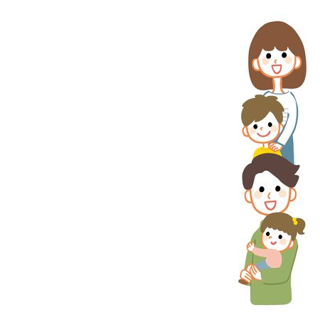 Happy family frame illustration. The empty part is copy space. Vettoriali