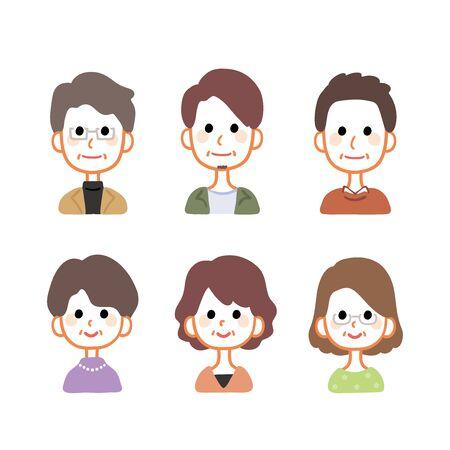 Variazioni di icone maschili e femminili di mezza età