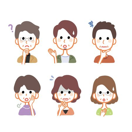 Middle-aged male and female facial expression variations