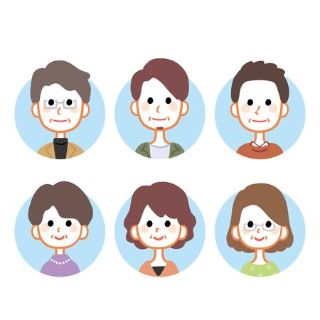 Middle-aged male and female icon variations