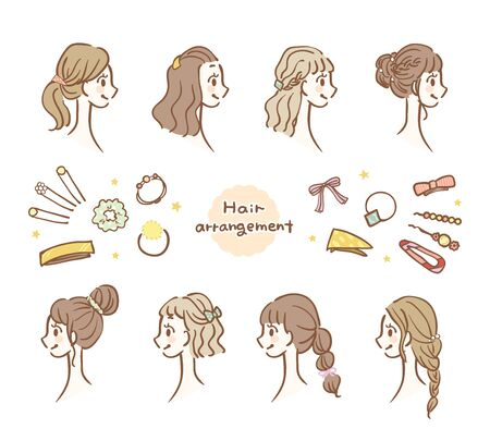 Illustration set of hair arrangement and hair accessories