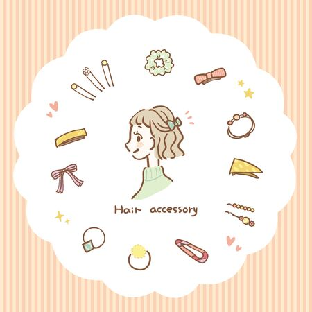 Illustration set of hair accessories Ilustração
