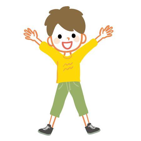 Illustration d'un garçon se réjouissant avec les deux mains Vecteurs