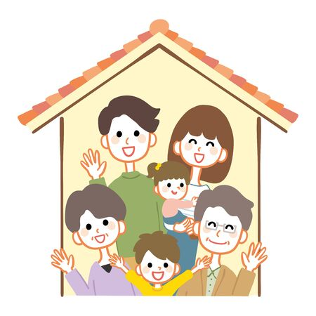 Illustration of a 3 generation family and a house. 矢量图像