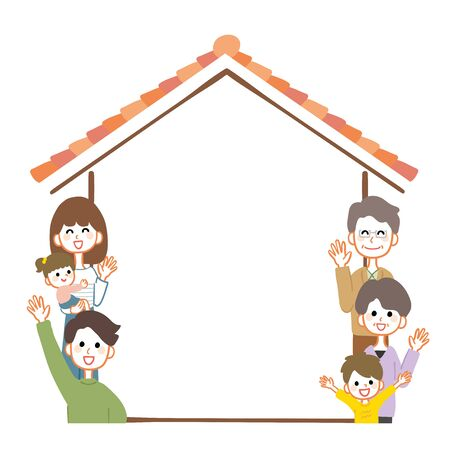 Illustration of a 3 generation family and a house.There is copy space in the house.