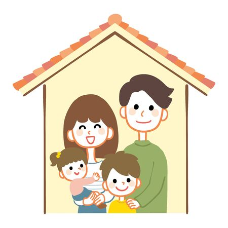 Illustration of a happy family with a house 일러스트