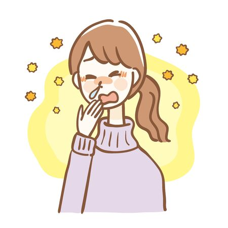 Women with itchy eyes and rhinitis caused by hay fever