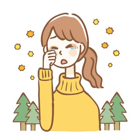 Woman with itchy eyes due to hay fever Illustration