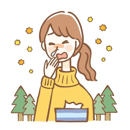 Woman with rhinitis due to hay fever