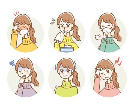 Illustrationssatz von Erkältungssymptomen