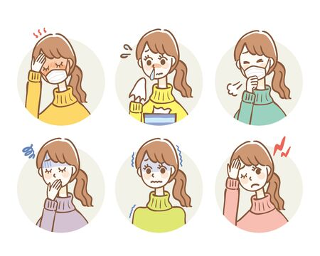 Insieme dell'illustrazione dei sintomi del raffreddore