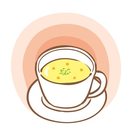 Illustration of corn soup in a soup plate