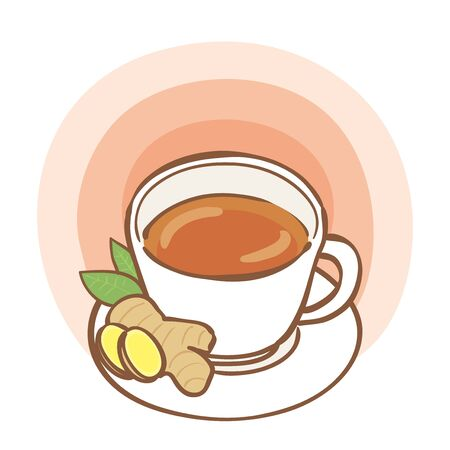 Illustration of hot ginger tea