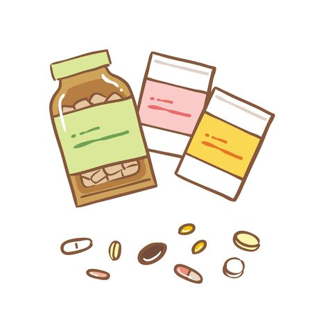 Illustration set of supplements