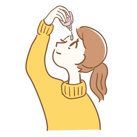 Illustration of a woman using eye drops