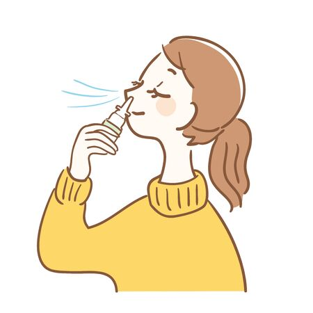 Illustration of a woman using nasal drops Illustration