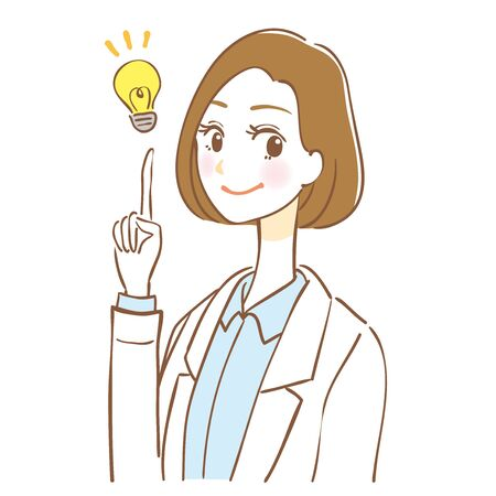 Woman in lab coat giving advice Illustration