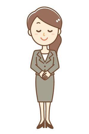 Illustration of a business woman bowing