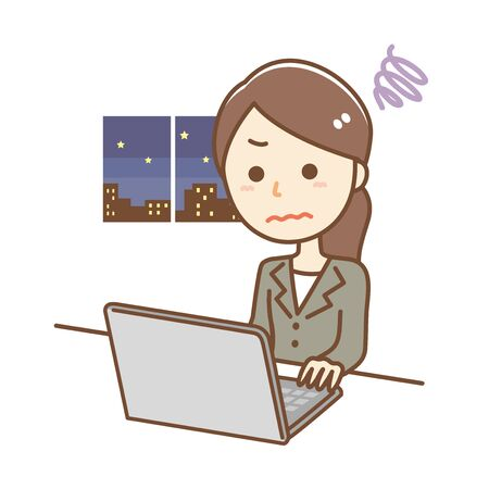 Illustration of a business woman working overtime