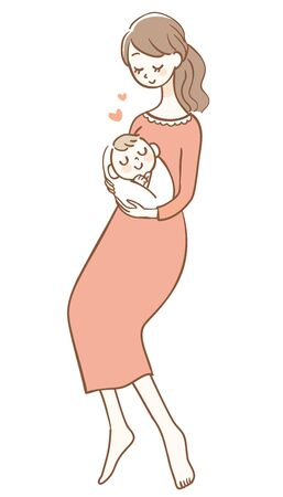 Illustration of a Mother Holding a Baby Ilustrace