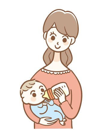 Illustration of a Baby Drinking Milk in a Baby Bottle