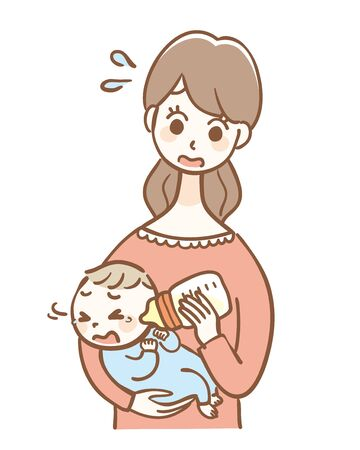 Illustration of a baby hating milk in a baby bottle