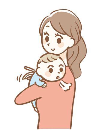 Illustration of baby burping after breastfeeding Vector Illustration
