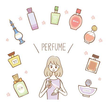 Parfümflaschen in verschiedenen Formen, Illustration einer Frau, die Parfüm aufträgt Vektorgrafik